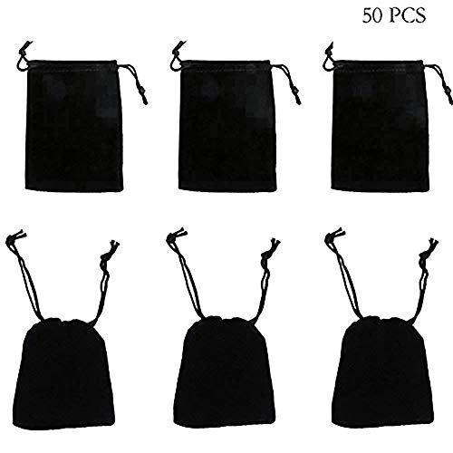 "rainbowroseus 50PCS 2"" X 3"" Black Velvet Cloth Jewelry Pouches Drawstring Bags Christmas Candy Gift Bag Pouch Wedding Favors"