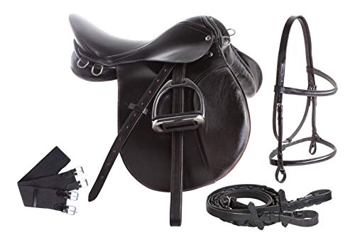 AceRugs Premium Black Leather English All Purpose Jumping Horse Saddle TACK Starter Package Set 15 16 17 18 (15)