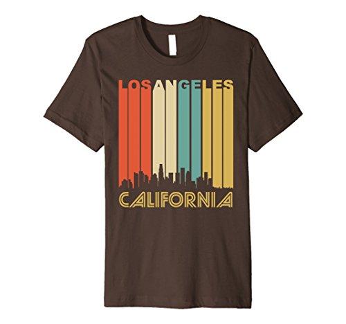 1970 Retro Jersey (Mens Retro 1970's Los Angeles California Downtown Skyline T-Shirt Large Brown)