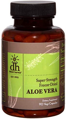 Desert Harvest Super-Strength 100 Organic Aloe Vera Supplement 90 Capsules 600 milligrams with 200 milligrams Active Ingredients Each. Interstitial Cystitis Bladder Pain Syndrome Relief.