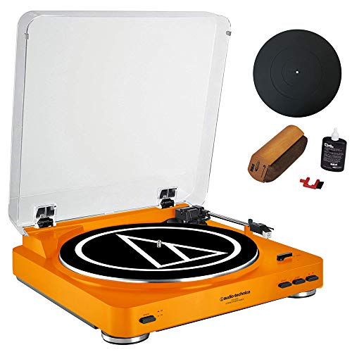(Audio-Technica Fully Automatic Stereo Turntable System Orange (AT-LP60OR) + Universal 12
