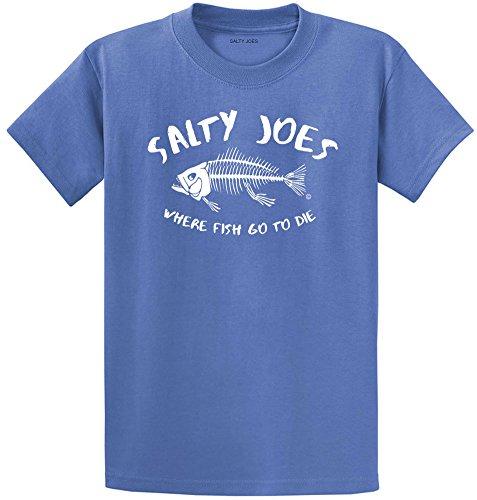 Salty Joe's Where Fish Go to Die Heavyweight Cotton T-Shirt-Ultramarine/w-4XL