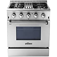 Thorkitchen HRD3088U 30 Freestanding Professional Style Dual Fuel Range with 4.2 cu. ft. Oven, 4 Burners, Convection Fan, Stainless Steel