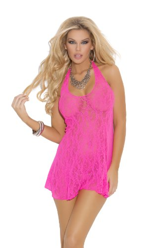Hot Pink Lace Halter Mini Dress-One Size