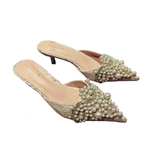 Antideslizante Imitación apricot Cuero Durable Bordado Ante Perla De Diamante Sandalias 37 Brillante Respirable Verano Mujer Zapatillas q61wRvgq