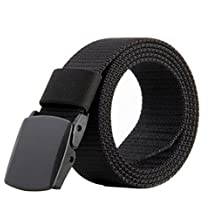 """Tactical Nylon Webbing Waist Belt Military Style with Plastic Automatic Buckle-Black, 1.5"""""""