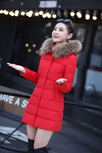 Cotton Jacket Xuanku Long Women Large Section In Slim red Clothing Collar Size Of Fur Down Large The Cotton Cotton rBwrzq