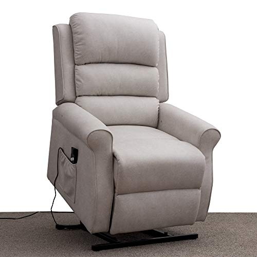 Irene House Modern Transitional Electric Power Lift Recliner Chair with Soft Breathable Fabric(Cream)