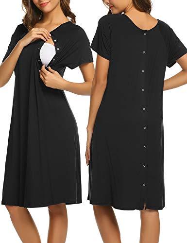 (Ekouaer Maternity Nightdress Short Sleeve Nursing Sleepshirt Labor Delivery Gowns Hospital Breastfeeding Nightgown(Black,S))