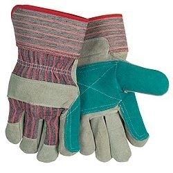 Leather Palm Gloves Cuff (Major 30-3110D Green Double Leather Palm Gloves w/ Safety Cuffs (72 Pairs)(Case))