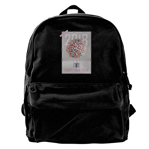 Happy New Year Eve Ballon 2018 Canvas Shoulder Backpack Limited Edition Premium FunniestHallowmas Baseball Backpack