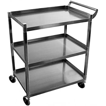 GSW Stainless Steel Solid 1 Inch Tubular Utility Cart With 5 Inch Swivel  Casters