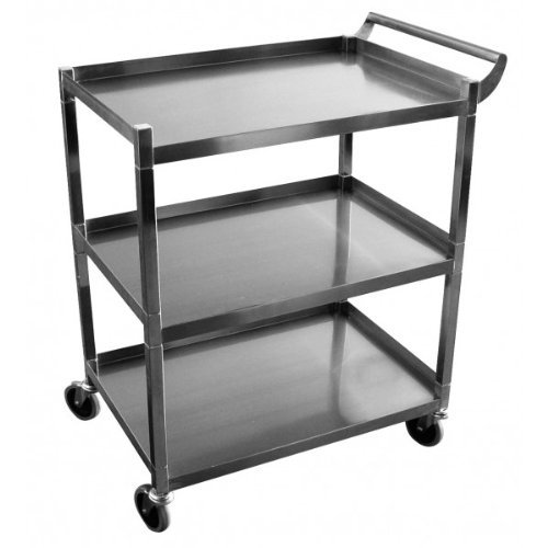 GSW Stainless Steel Solid 1-Inch Tubular Utility Cart with 5-Inch Swivel Casters, 15-1/2 by 26-1/2 by 34-Inch NSF Approved by GSW