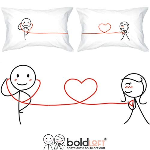BoldLoft My Heart Beats for You Couples Pillowcases- Gifts for Couples,For Him Gifts for Boyfriend,Husband,Valentine's Day Anniversary,For Him and Her, Doctor Gifts,His and Hers Gifts,Fiance Gifts