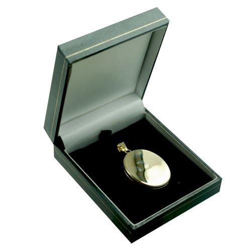 Médaillon 35x26mm oval en or Jaune 375/1000 plat et gravé à la main