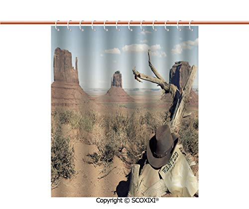 SCOXIXI Shower Curtain,Durable,Cowboy Hat on Dried Tree Branch and Sign Desert Monument Alley in USA,W72XL72 Inches