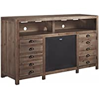 Signature Design by Ashley W678-38 Keeblen TV Stand with Fireplace Option, Grayish Brown