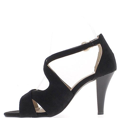 Sandales noires à talon fin de 8,5cm aspect daim fines brides