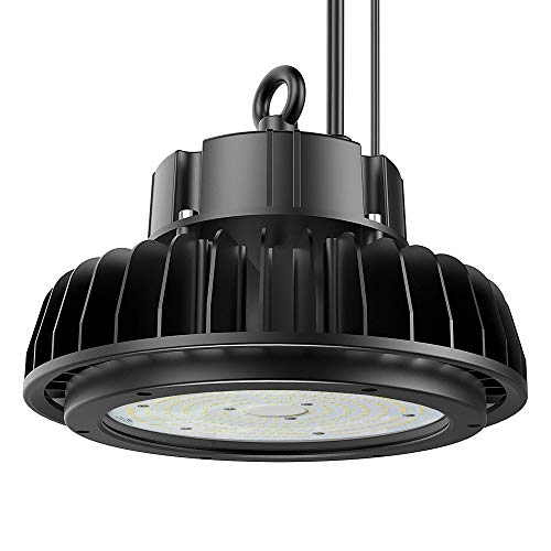 High Bay Lighting 150 Watt, (600W HID/HPS Equivalent) UL/DLC Adiding UFO LED Warehouse Shop Lighting Fixture 5000K 19500Lm Dimmable with Adjustable Bracket for Garage Workshop IP65 Black
