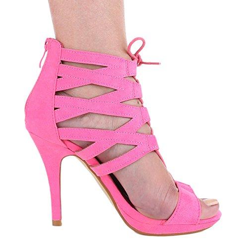 Ital-Design Damen Schuhe, 2300-GL, Sandaletten High Heels Pumps Schnürung Pink