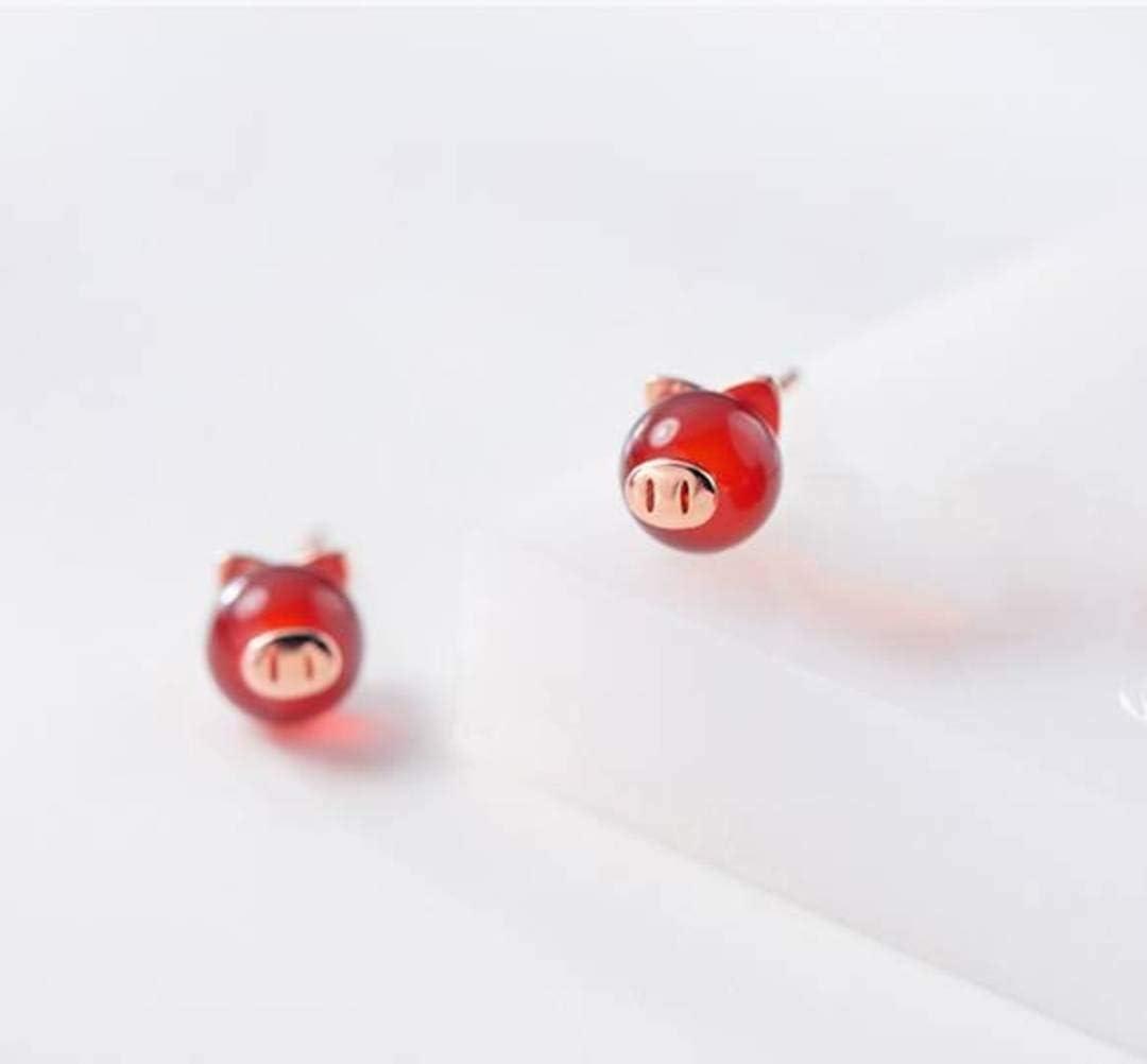 S&RL S925 Pendientes de Plata Cerdo de Mujer Corea Pequeño Fresco Granate Encantador Rojo Natal Joyería de Moda para Mujeroro y rosa, Plata 925