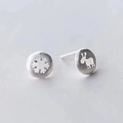 Generic The new 925 silver earrings women girls lady literary Sen Department of hollow elk snowflake earrings earrings simple and cute little animals
