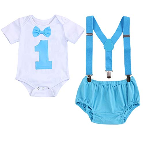 GRNSHTS Baby Boy Funny First Birthday Clothes Infant Boy Bow Tie Romper Bodysuit Cake Smash Outfits