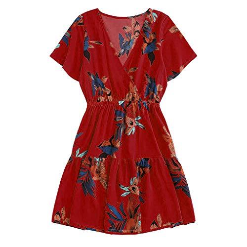 (Women Boho Casual High Waist Short Dress Bohemia Print V Neck Summer Beach Midi Dress & ANJUNIE(Red,XL))