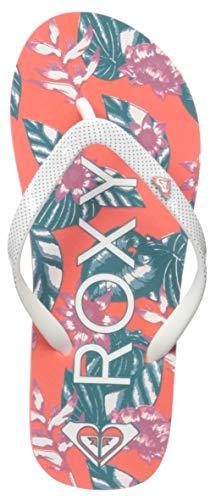 Roxy Girls' RG Pebbles Flip Flop Sandal, Multi Pink Floral 5 Medium Youth US Big Kid ()