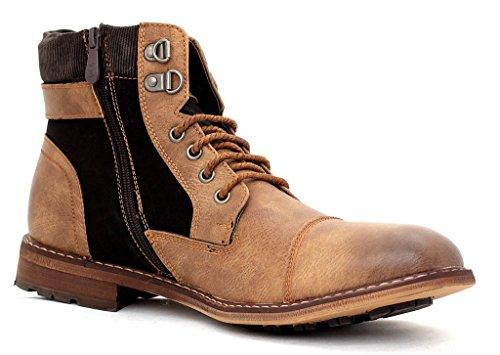 Al Tobillo Hombre Chelsea Zapato Motero Marron Número Cremallera Hebilla Casual Cordones Botas Con 5q5rnwE