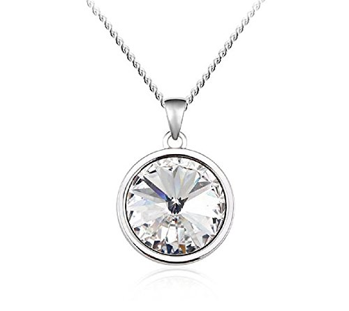 UPSERA Solitaire Crystal Necklace for Women, Pendant Chain Set Made with Swarovski ()