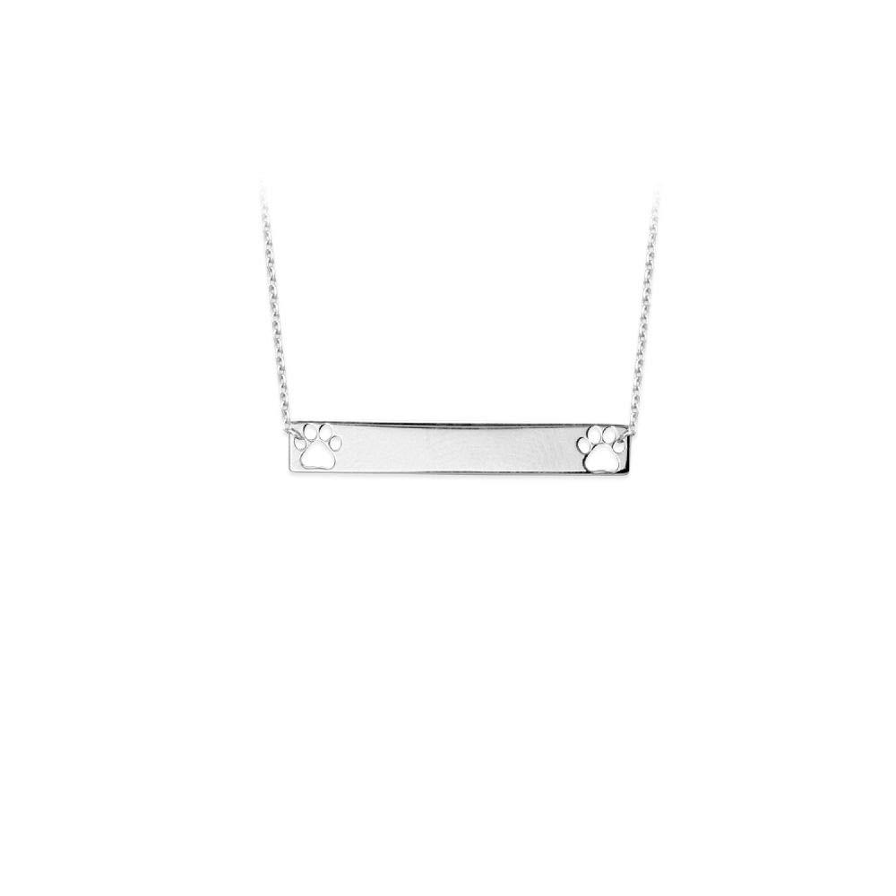 Sterling Silver Mini Bar W//Cut Out Paw Print Adj Necklace
