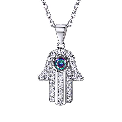 925 Sterling Silver Hamsa Hand Necklace Cubic Zirconia Mystic Rainbow Topaz Hand of Fatima Pendant Dainty Jewelry Gift for Her...
