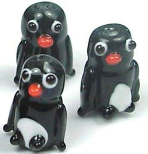 - (6 Beads) Lampwork Handmade Glass Lovely Penguin Beads