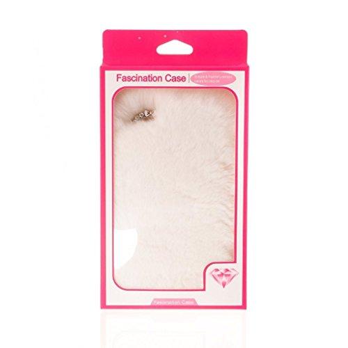 Youmai Housse Fourrure Apple iPhone 6/6S Chaîne Cristal Strass Petit Nœud, blanc, 6/6s Plus(5.5inch)