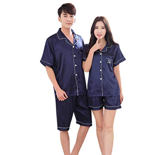 Fxbar T-Shirt,Loose-Fit Men's Casual Spring Pure Color Short-Sleeved Comfortable Home Pyjamas Set Couple Pajamas(Blue,L)
