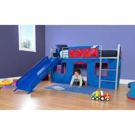 Boys Twin Loft Bed with Slide, Grey and Blue, Bed accommodates a twin mattress (Curtain Set Loft)