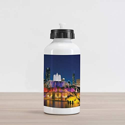 Ambesonne Chicago Skyline Aluminum Water Bottle, Buckingham Fountain Landmark in The Center of Grant Park Vibrant Night, Aluminum Insulated Spill-Proof Travel Sports Water Bottle, Multicolor