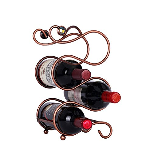 Ieasycan 4 Bottle Countertop Wine Holder Free Standing Rack Table Top Modern Scroll Art Design Perfect for Storage