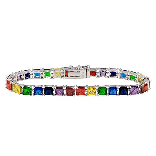 Multi-Color Princess Cut Cubic Zirconia Rainbow Tennis Bracelet Rhodium Plated Sterling Silver