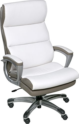 OneSpace Roosevelt High Back Two-Tone Executive Chair with Padded Armrests, White & Beige ()
