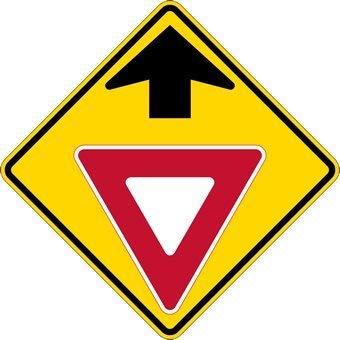 Yield Ahead Symbol Sign Aluminum Metal Signs - 12x12 inch