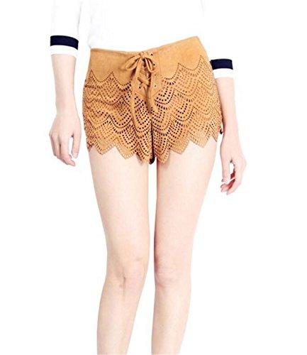 SHUNLIU Damen Hotshorts Frauen Sommer Spitze Stickerei lose kurze Hose Böhmische Casual Shorts Hose Hot Pants Strand Shorts Sporthosen