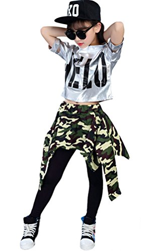 Soojun Girls Shiny Top and Leggings with Attached Faux Shirt for Hip Hop, #1 Camo, 165cm by Soojun