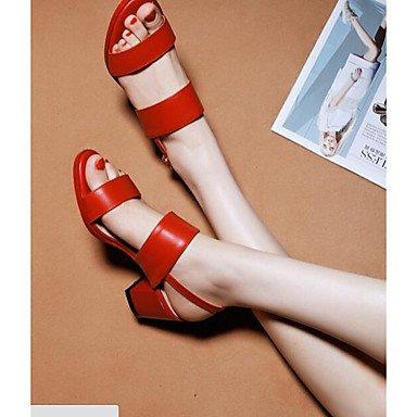 pwne Donna Primavera tacchi Slingback PU Casual Chunky Heel Rosso Nero Bianco rosso US6 / EU36 / UK4 / CN36