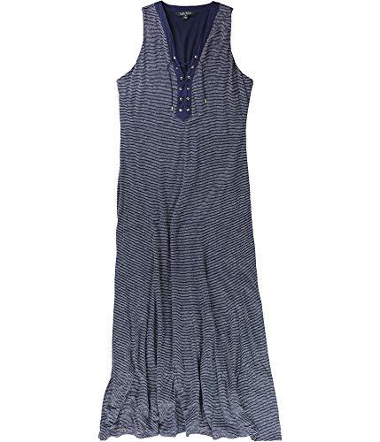 (Ralph Lauren Lauren Lace-Up Linen Dress (IndigoWhite, Small))
