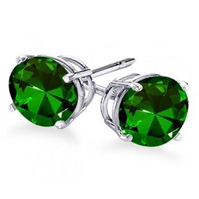 cd740c6f8 Amazon.com: 4-Prong Round Cut Green Emerald Stud Earrings .25 ct. tw ...