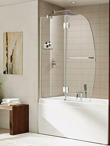Paragon Shelf - Paragon Bath 0ASBS02-A Modern Paragon Bath - AURORA - Premium 3/8 in. (10mm) Thick Clear Tempered Glass, Size: 48