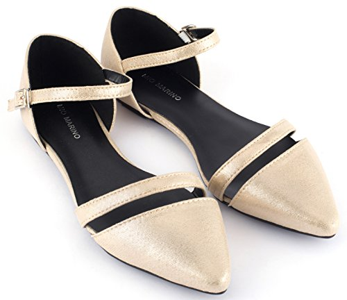 Mio Marino Ballet Flats Shoes for Women - Pointed Toe Flats Dress Shoes for Women (Gold Metallic, 11) (Best Formal Shoes For Flat Feet)