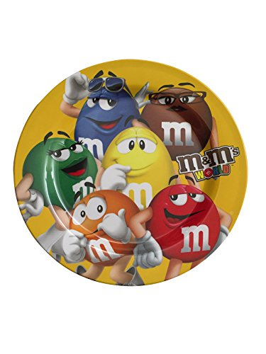 M&M's Melamine Dinner Plate - 6 Characters Blue, Brown, Green, Orange, Red, Yellow